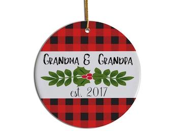 Grandma Grandpa Ornament, Grandparent Ornament, Christmas Ornament, Pregnancy Reveal, Pregnancy Announcement, Personalized Ornament