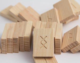 Nordic wooden runes Rectangular wood runes Divination wooden runes Elder Futhark Set ash runes Divination Tools Esoterics Runic magic