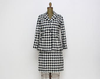 60s Houndstooth Skirt Suit - Size Small Vintage 1960s Women's Blazer and Skirt