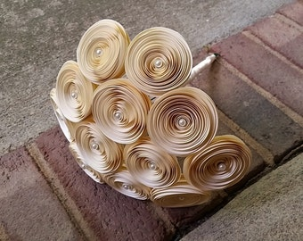 Paper Flower Bouquet - Handmade Ivory and Pearl Paper Flower Bridal Bouquet - Perfect for Mother's Day, Weddings, Bridal Bouquet