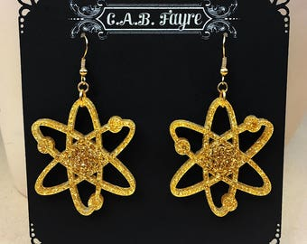 READY MADE SALE - Atomic Atom Earrings - Gold Glitter Acrylic Laser Cut Earrings (C.A.B. Fayre Original Design)