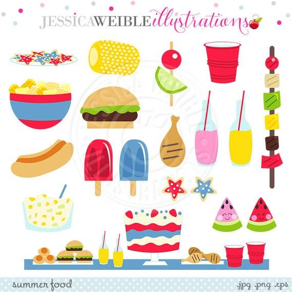 Summer Food Cute Digital Clipart Summer Graphics Summer