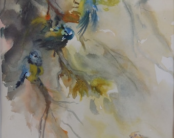 Watercolor on paper chickadees