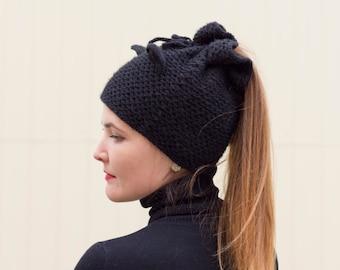 Ponytail knit hat Cat ear beanie Black messy bun hat Beanie with hole Animal adult beanie Crochet cat ears Kitten cap Hat transformer