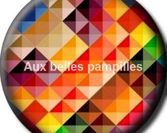 Round cabochon resin 25 mm - multicolored geometric (1447) shapes - square, diamond paste