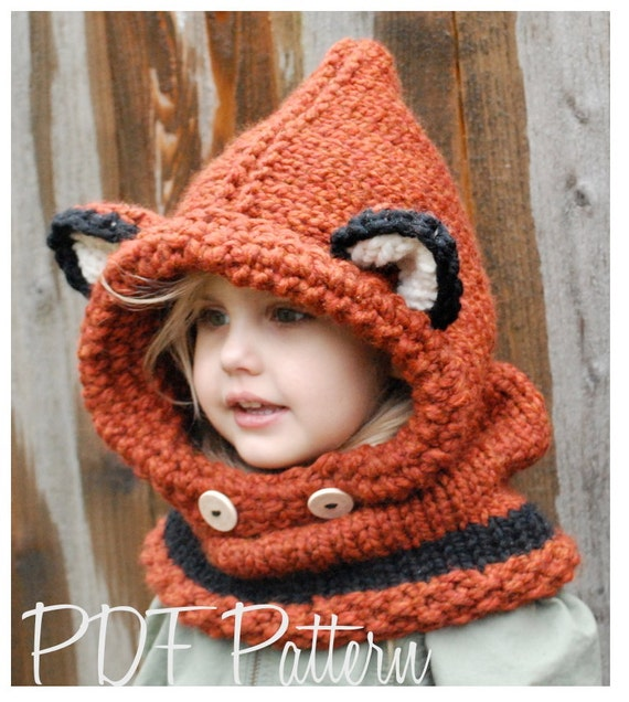 Knitting Pattern Failynn Fox Cowl 1218 Months Toddler Child