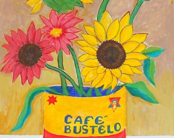 ACEO: - Abstract Surreal Coffee Can Floral- Limited Edition (3/25)