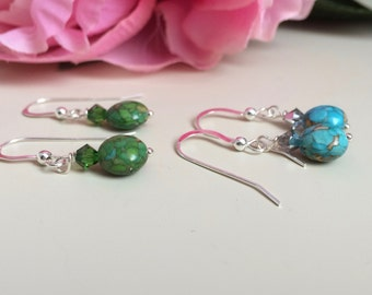 Green Turquoise Earrings - Blue Turquoise Dangles - Blue Turquoise Earrings - Green Turquoise Dangles   - Valentines Gift for Her, for mom