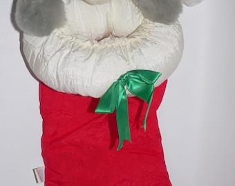 Vintage Vtg Good Stuff Nylon Plush Mouse Red Green Christmas Stocking 3D Night Before 1992 90s