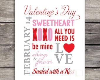 Valentines Day Print | Valentines Printable | Valentines Decor | Valentines Wall Art | Valentines Day | Instant Download 8x10