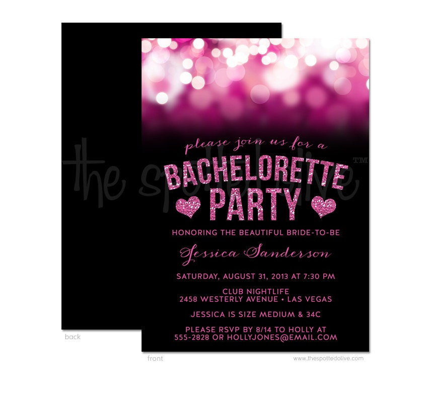 Hot Pink & Black Bachelorette Party Invitations DIY