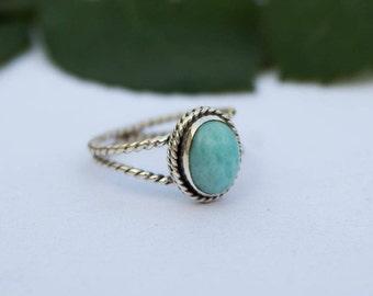 Larimar Ring, Blue Larimar Stone Sterling Silver Ring, Larimar Jewelry, Boho Ring, Twisted Band Ring, Natural Larimar Ring