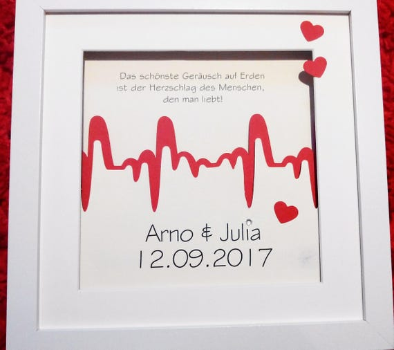 personalized wedding gift picture frames heart beat