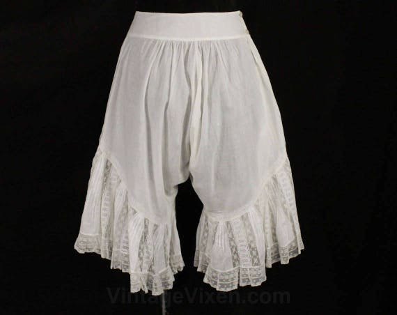 Victorian Waist 48761 Antique Lingerie Bloomers Matching Two 4 Piece and Small Size Petticoat Set Authentic Pantaloon 22 Lace Fine BafYqU