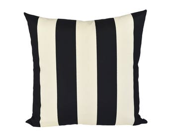 Cabana Stripe Black & Ivory pillow covers - Indoor/Outdoor - Made to Order