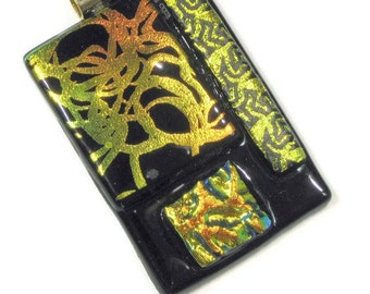 Art Glass Pendant Necklace Black Gold Orange Statement Jewelry