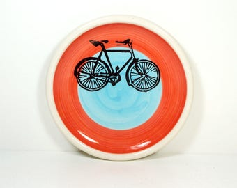 little plate with a Dusty Road Bike print on a color block of red-orange and blue READY TO SHIP