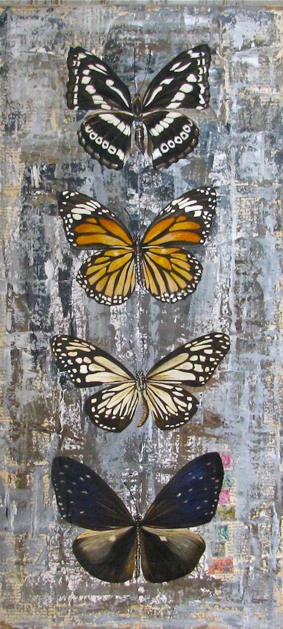 Butterflies original acrylic painting on reclaimed rustic wood panels