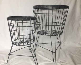 Set of 2 Wire Baskets with Stand