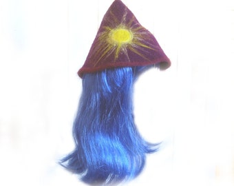 Baby Photo shoot Prop Purple Needle-Felted Hat with the Sun