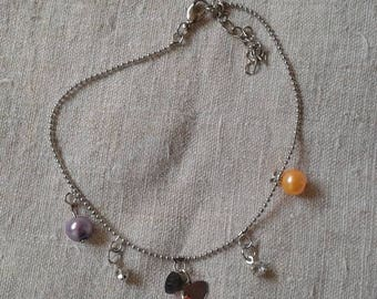bow, rhinestone and Pearl anklet