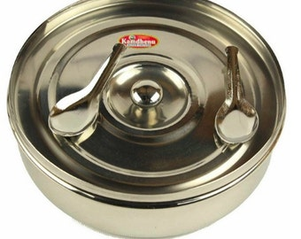 """Masala Dabba Round Tin - 7.25"""" for Indian Cooking Spices Storage Everyday Kitchen Use"""