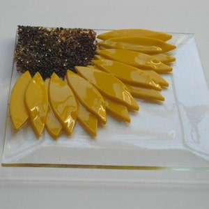 Sunflower Fused Glass Plate Images