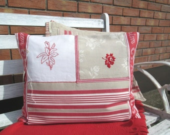 Country cushions in patchwork, Pillow cover patchwork,Linen union cushion