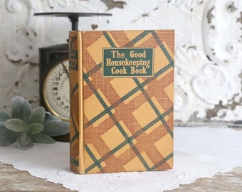 Vintage Good Houskeeping Cook Book, Vintage Cookbook, Farmhouse Cookbook, Plaid Cookbook, 1944 7th Edition