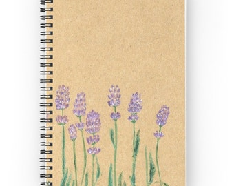 Lavender Notebook, floral notebook, rustic notebook, lavender journal, flower notebook, flower journal, floral journal, brown notebook