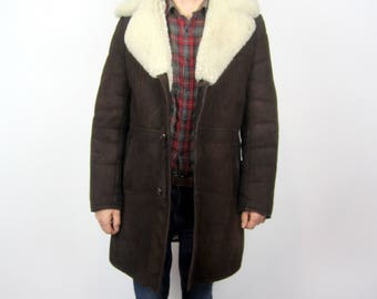 vintage 70s sheepskin shearling Dark Brown suede leather winter coat S M