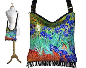 Cross Body Handbag, Van Gogh Irises Boho Bag Crossbody Purse, Hippie Fringe Bag, Hobo Slouch Shoulder Bag, pockets, blue  orange green RTS