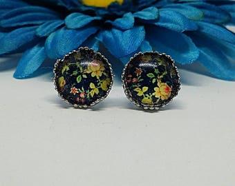 Rose Earrings, Vintage Look, Rose Studs, Stainless Steel, Hypoallergenic, Stud Earrings, Post Earrings, Dot Earrings, Black, Yellow, Rose