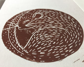 Lovely lino print of a sleepy dormouse. Find him on a bag and as a brooch!