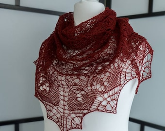 Hand-knit wine red  triangular lace shawl for True Autumn