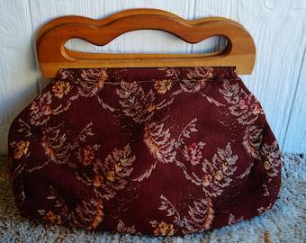 Large Vintage Carpet Tapestry Bag - Wooden - Clutch - Fabric