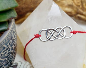 Infinity infinitely endless bracelet or necklace made of hempyarn or bamboo yarn silver hippie Boho Pendant Friendship Band
