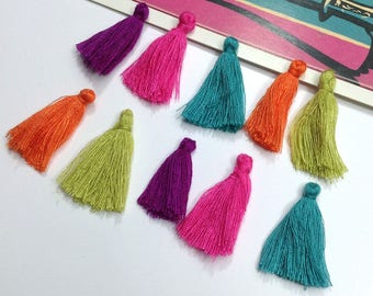 10 mini cotton tassels 25mm Bohemian Moroccan / Indian style mix orange, hot pink, turquoise, olive, purple