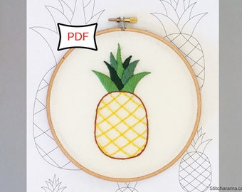 Pineapple Embroidery Pattern • PDF Download