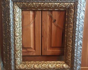 Extra Large Antique Frame, Antique Frame, Gold Silver Frame, 28 x 25 Frame, Metal & Wood Frame, Vintage Frame, Ornate Frame, Beautiful Frame
