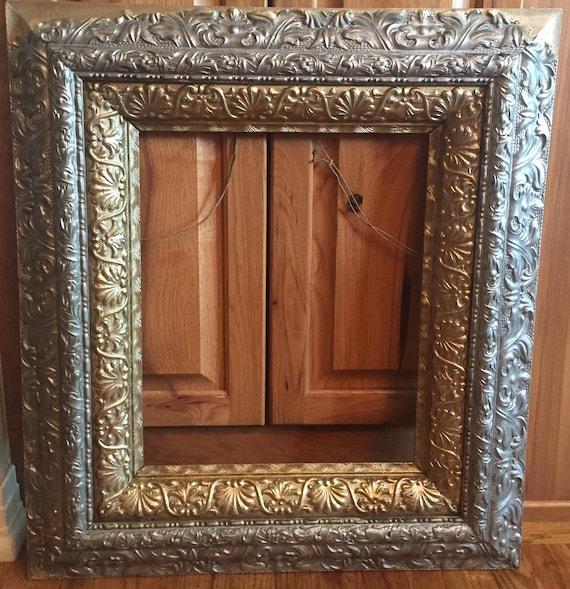 Extra Large Antique Frame, Antique Frame, Gold Silver Frame, 28 x 25 ...