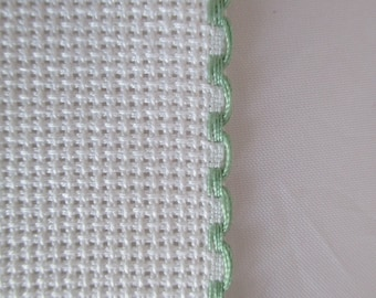 1 m Strip canvas aida canvas embroidery by 5 cm tall, pastel green white