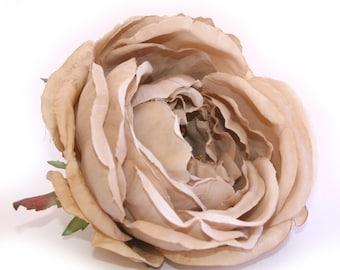 Jumbo Beige Cabbage Rose - Artificial Flower, Silk Flower Heads