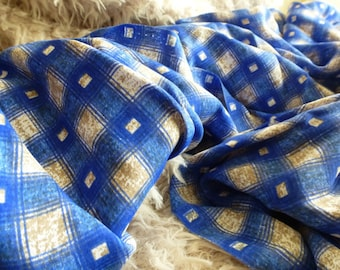 Blue Plaid Rayon Fabric by the Yard, Fabric by the Yard, Rayon Yardage, Plaid Yardage