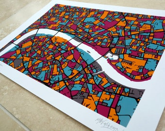 Central London Art Map - Limited Edition Contemporary Giclée Print