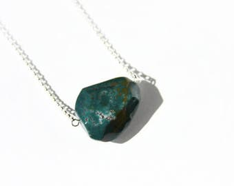 Bloodstone Jasper Sterling Necklace Green Chalcedony Heliotrope Chunky Stone Pendant Sterling Silver Chain Geometric Simple Necklace #17541