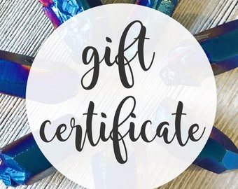 Gift Certificate // Gift Card // Instant Gift // Gift for Her // Last Minute Gift // Jewelry Gift Certificate // Digital Gift Card