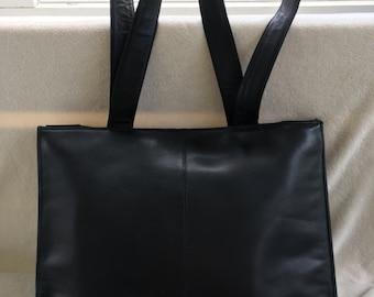Black Leather Tote Bag/ Luggage/ Travel bag