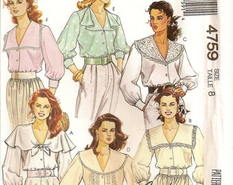 McCalls 4759, Sewing Pattern, Misses Blouses, Collar Variations, Sleeve Variations, Trims, Vintage Clothing, Size 8, Sewing Supplies, Pretty