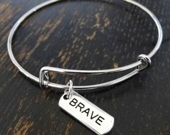 Brave Bangle Bracelet, Adjustable Expandable Bangle Bracelet, Brave Charm, Brave Pendant, Brave Jewelry, Survival Bracelet, Be Brave Quote